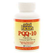 Natural Factors PQQ-10 PQQ 20mg Coenzyme Q10 200mg 60 Softgels | 068958026190