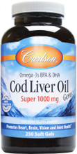 Carlson Norwegian Cod Liver Oil Gems - Super 1000mg - 250 softgels | 088395013027