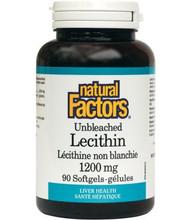 Natural Factors Unbleached Lecithin 1200mg 90 Softgels   068958026008