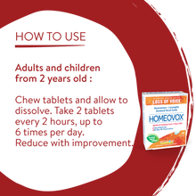 Boiron Homeovox Loss of Voice 60 Chewable Tablets  | Usage