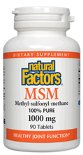 Natural Factors MSM Methyl-Sulfonyl-Methane 1000mg Capsules | 068958026527