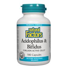 Natural Factors Acidophilus and Bifidus 5 Billion Active Cells Capsules | 068958018010