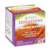 Purica Zensations Mushroom Cacao Mix - Mindful Breath Lion's Mane & Cordyceps 12 Packets