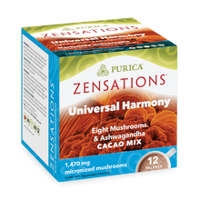 Purica Zensations Mushroom Cacao Mix - Universal Harmony Eight Mushrooms & Ashwaghandha  12 Packets |