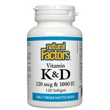 Natural Factors Vitamin K and D 120 mcg and 1000 IU 120 Softgels | 068958012933