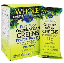 Natural Factors Whole Earth and Sea Organic Vegan Greens Protein Bar 6 x15g | 068958355061
