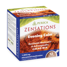Purica Zensations Mushroom Cacao Mix - Evening Calm Red Reishi and Ashwagandha Drink 12 Packets |