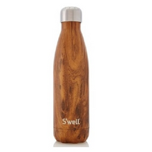 S'well Bottle Wood Collection Stainless Steel Water Bottle Teakwood 17 oz | 814666020629