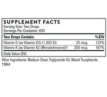 Thorne Research Vitamin D/K2 Liquid | 872331005005 | Supplement Facts