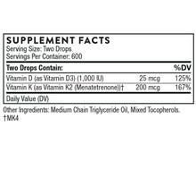 Thorne Research Vitamin D/K2 Liquid | 872331005005 | Supplement Facts
