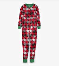 Little Blue House by Hatley Adult Union Suit Holiday Moose on Plaid - front
