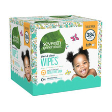 Seventh Generation Free & Clear Baby Wipes Litho Box- Resealable Packaging 384 count | 732913342242
