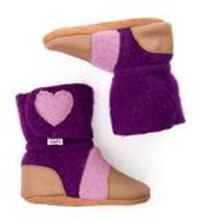 Nooks Design Booties Purple with Pink Hearts - Newborn |	628110356338