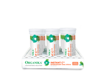 Organika Instant C Effervescent with Stevia 1000mg Orange Flavour 8 Tubes x 10 Tablets