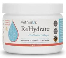 withinUs ReHydrate + TruMarine Collagen Premium Electrolyte Powder 30-Serving Jar 144g - Tropical | 628504021750