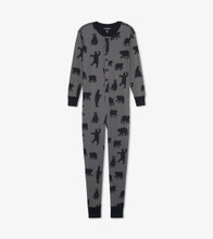 Little Blue House by Hatley Adult Union Suit Charcoal Bears