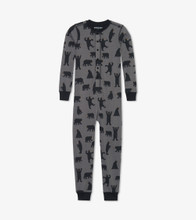 Little Blue House by Hatley Kids Union Suit Charcoal Bears