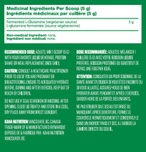 Kaha Vegan Fermented L-Glutamine 400g Nutritional Information
