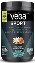 Vega Sport Nighttime Rest & Repair Protein Powder 15 Serving Tub - Vanilla Caramel 401g | 838766101613
