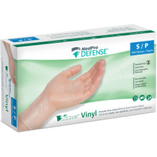 MedPro Defense Vline Vinyl Powder-Free Medical Examination Gloves - Box of 100 | 010-215 | Small