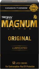 Trojan Magnum Large Original Lubricated Latex Condoms 12 Count | 061700912529