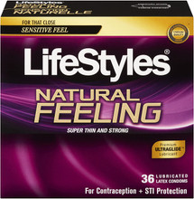 LifeStyles Natural Feeling Lubricated Latex Condoms 36 Count | 070907047460
