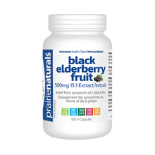 Prairie Naturals Black Elder Berry Fruit 500mg 15:1 Extract 120 V-Capsules | 067953006893