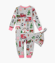 Little Blue House by Hatley Baby Coverall with Hat - Christmas Village
