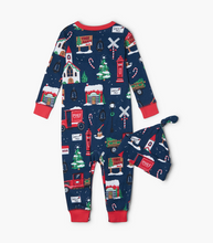 Little Blue House by Hatley Baby Coverall with Hat - Navy Christmas Village