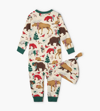 Little Blue House by Hatley Baby Coverall with Hat - Woodland Winter | DR2WOOD001