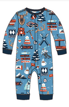 Little Blue House by Hatley Baby Union Suit - Blue Ski Holiday - front