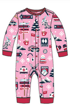 Little Blue House by Hatley Baby Union Suit - Pink Ski Holiday - front