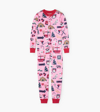 Little Blue House by Hatley Kids Union Suit - Pink Ski Holiday