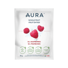 Aura Whole Fruit B.C. Raspberries Individual Pouches - Box of 10 x 10g