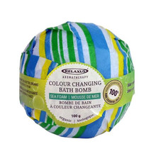 Relaxus Aromatherapy Colour Changing Organic Bath Bomb 100g - Sea Foam (Blue/Yellow/Green)  | 628949048299