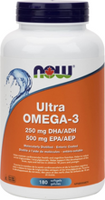 Now Foods Ultra Omega-3 (250mg DHA / 500mg EPA) 180 Softgels | 733739816627