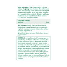 Jamieson Fast Dissolving Melatonin 5 mg Chocolate Mint - 160 Sublingual Tablets | Ingredients Label Image | 064642094698