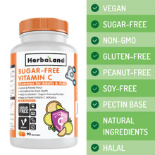 Herbaland Sugar Free Vitamin C Gummies For Adults & Kids 90 Gummies | 813523003089