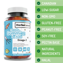 Herbaland Classic Gummies for Kids - Omega-3 Strawberry & Orange Flavours 60 Gummies | 813523000590