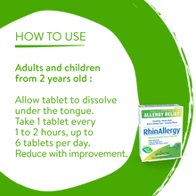 Boiron Allergy Relief RhinAllergy - 60 Quick-Dissolving Tablets | 774016743878 | Usage