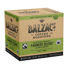 Balzac's Coffee Roasters Fairtrade Organic Farmers Blend Coffee Pods - Marble Roast Bright-Complex 18 Count | 628614001826