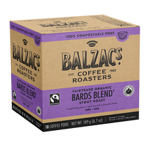 Balzac's Coffee Roasters Fairtrade Organic Bards Blend Coffee Pods - Stout Roast Dark-Lush 18 Count | 628614018411