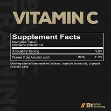 Redcon1 Basic Training Series Vitamin C 120 Tablets Supplements Facts