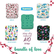 Thirsties Stay Dry Natural One Size All in One Snap Diaper Package - Bundle of Love | 840015710910
