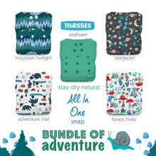 Thirsties Stay Dry Natural One Size All in One Snap Diaper Package - Bundle of Adventure | 840015711023