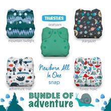Thirsties Natural Newborn All in One Snap Diaper Package - Bundle of Adventure | 840015710972