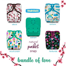Thirsties Natural One Size Pocket Snap Diaper Package - Bundle of Love   840015710903