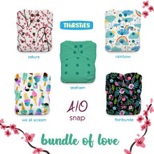 Thirsties One Size All In One Snap Diaper Package - Bundle of Love | 840015710880
