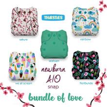 Thirsties Newborn All in One Snap Diaper Package - Bundle of Love   840015710859