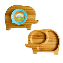 OLA Bamboo Kids Plates with Suction Base - Elephant - Blue Suction Cup | 628110814500